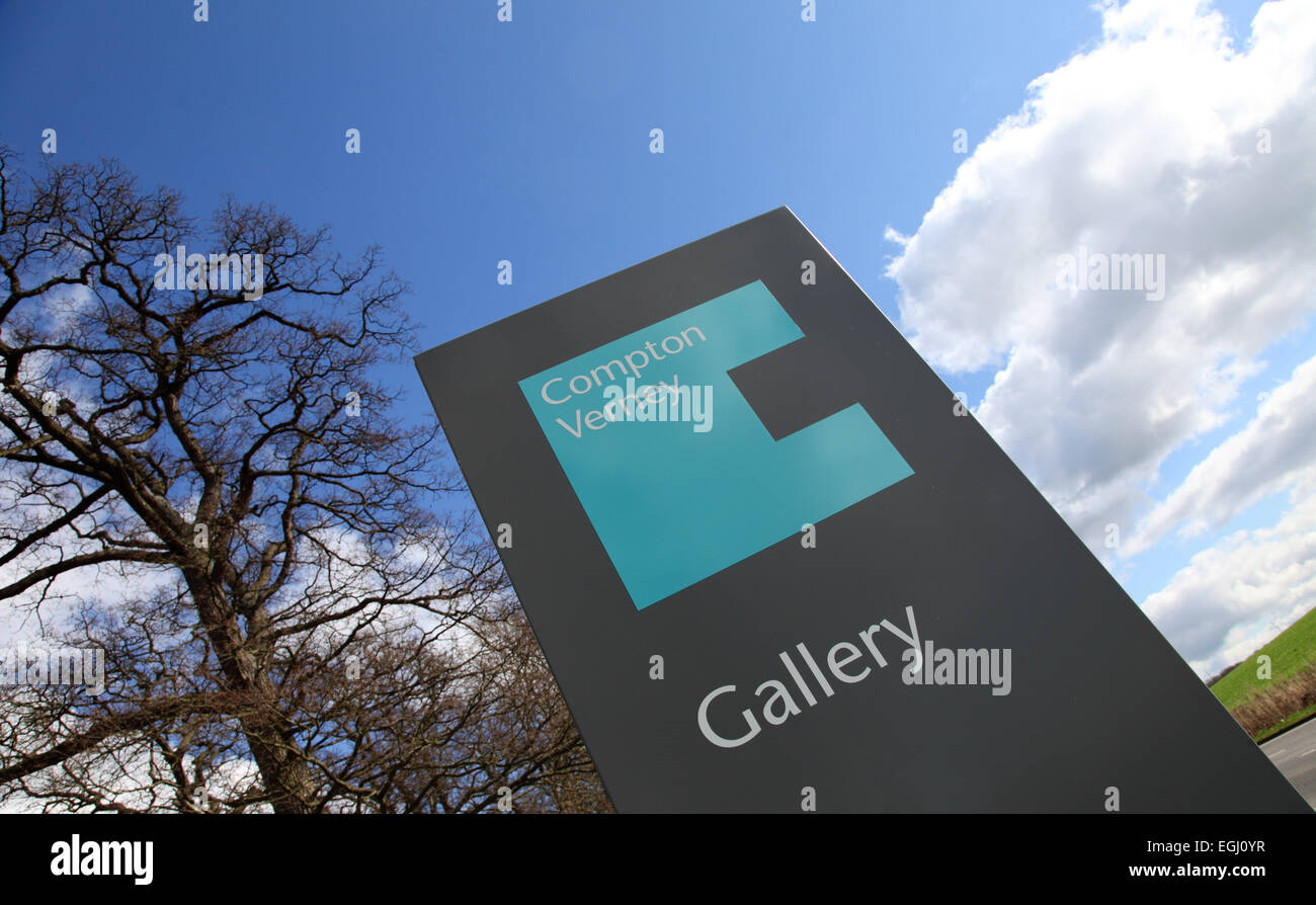 Sign at Compton Verney art gallery, near Wellesbourne, Warwick, UK - Stock Image