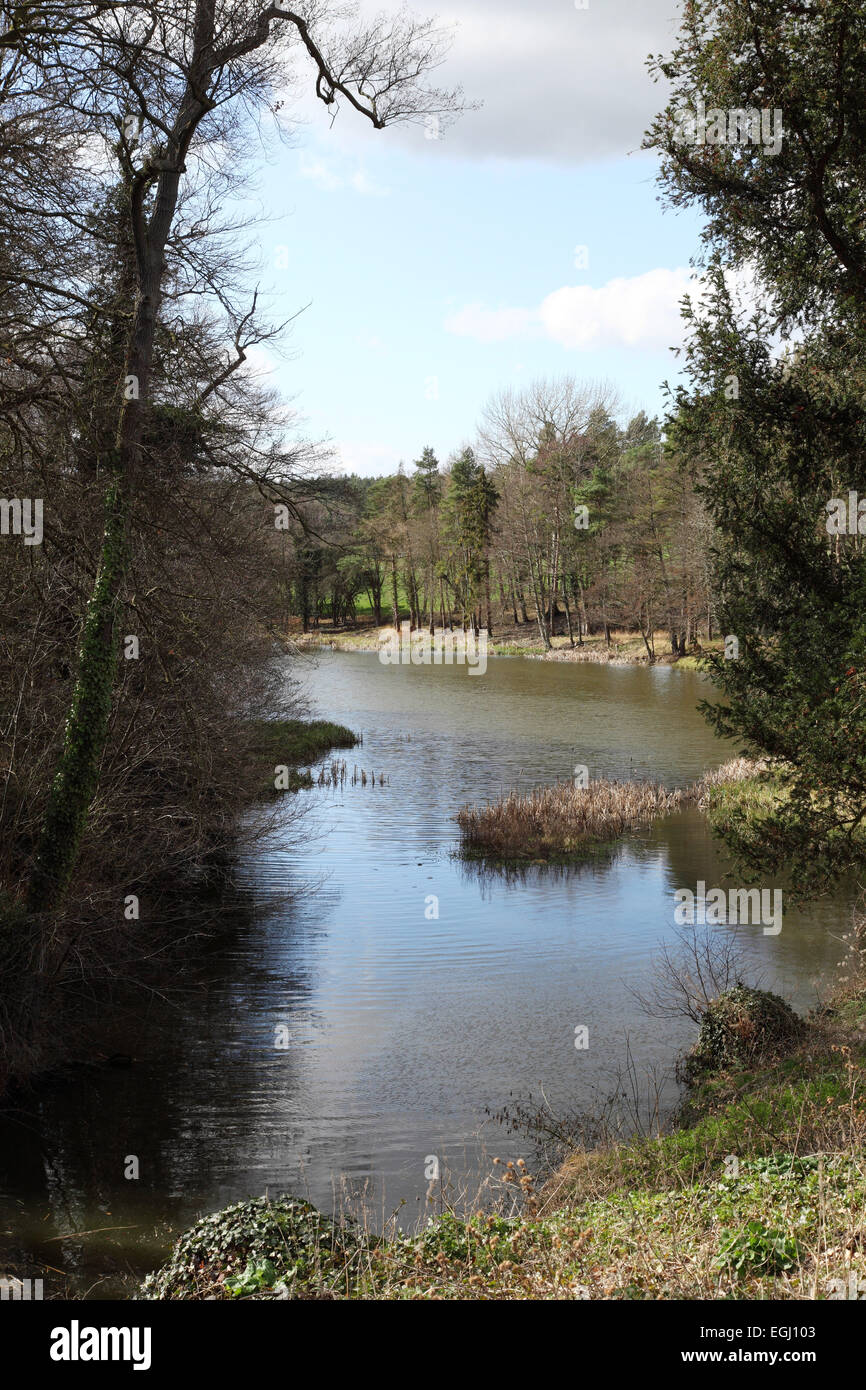 The lakes and grounds at Compton Verney Art Gallery, near Wellesbourne, Warwickshire - Stock Image