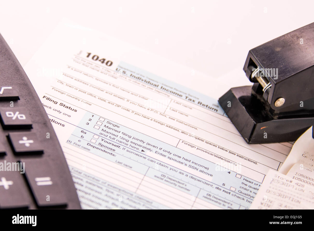 tax preparation supplies and blank tax forms stock photo 79072341