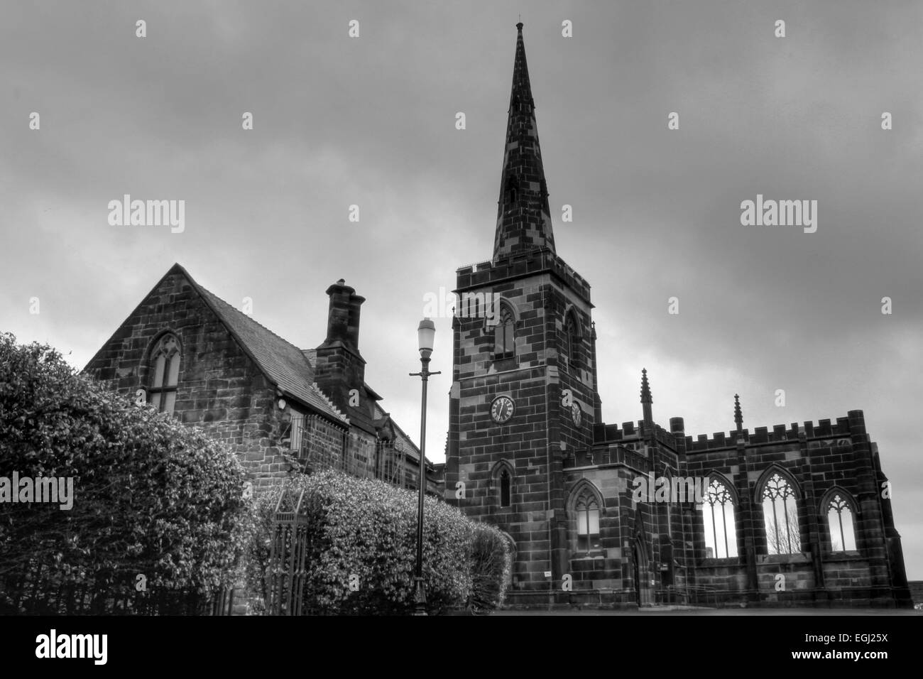 Black and White HDR Photograph Of Birkenhead Priory - Stock Image
