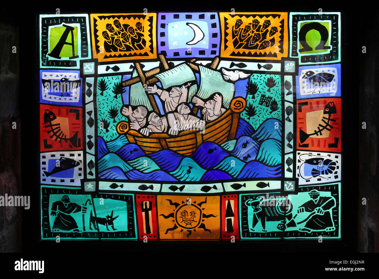 Modern Stained Glass Window Of A Monk's Ferry Boat Sailing Across The River Mersey by Martin Donlin 1992 - Stock Image