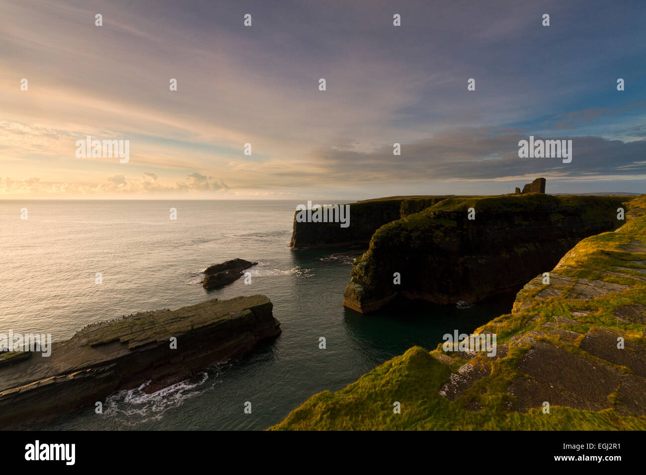 Castle of Old Wick, Caithness coast - Stock Image