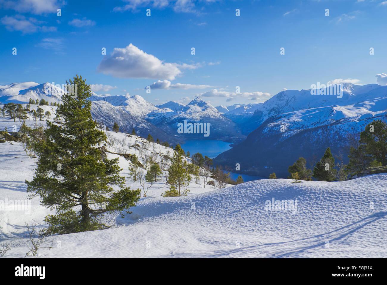 Amazing view of snowy planes in Norwegian Volda - Stock Image