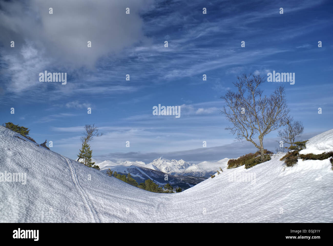 Picturesque view of a snowy valley in Norway with mountains in the background - Stock Image