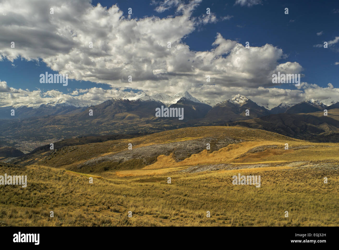 Picturesque view of clouds casting shadows on Peruvian Cordillera Negra Stock Photo