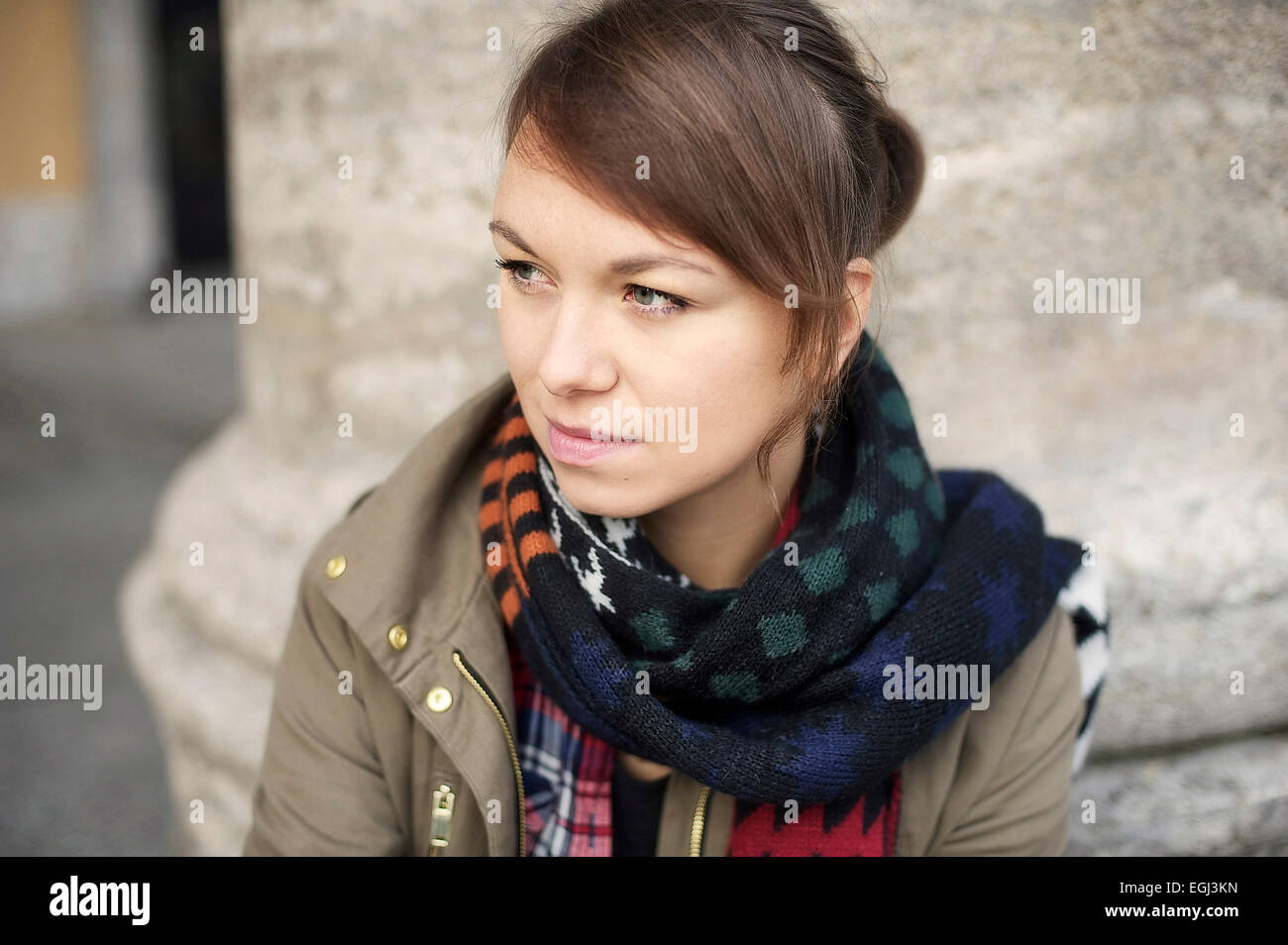 Young woman with plait, - Stock Image