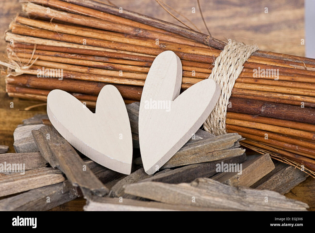 Hearts, wood, Deko, Stilllife, - Stock Image