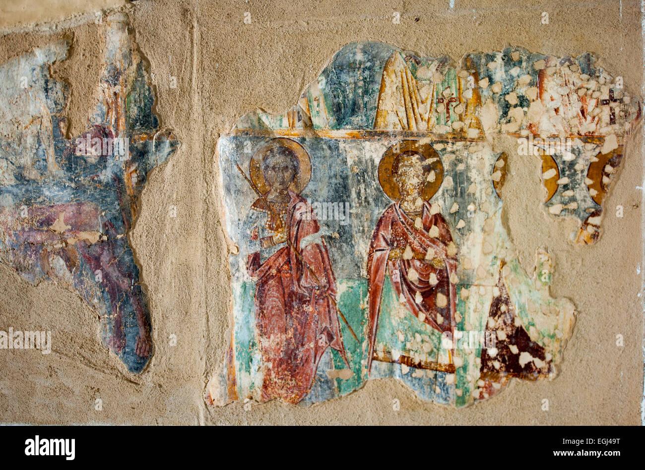 Griechenland, Kastellorizo, Insel-Museum, Archäologisches Museum, Fresken aus einer Inselkirche - Stock Image