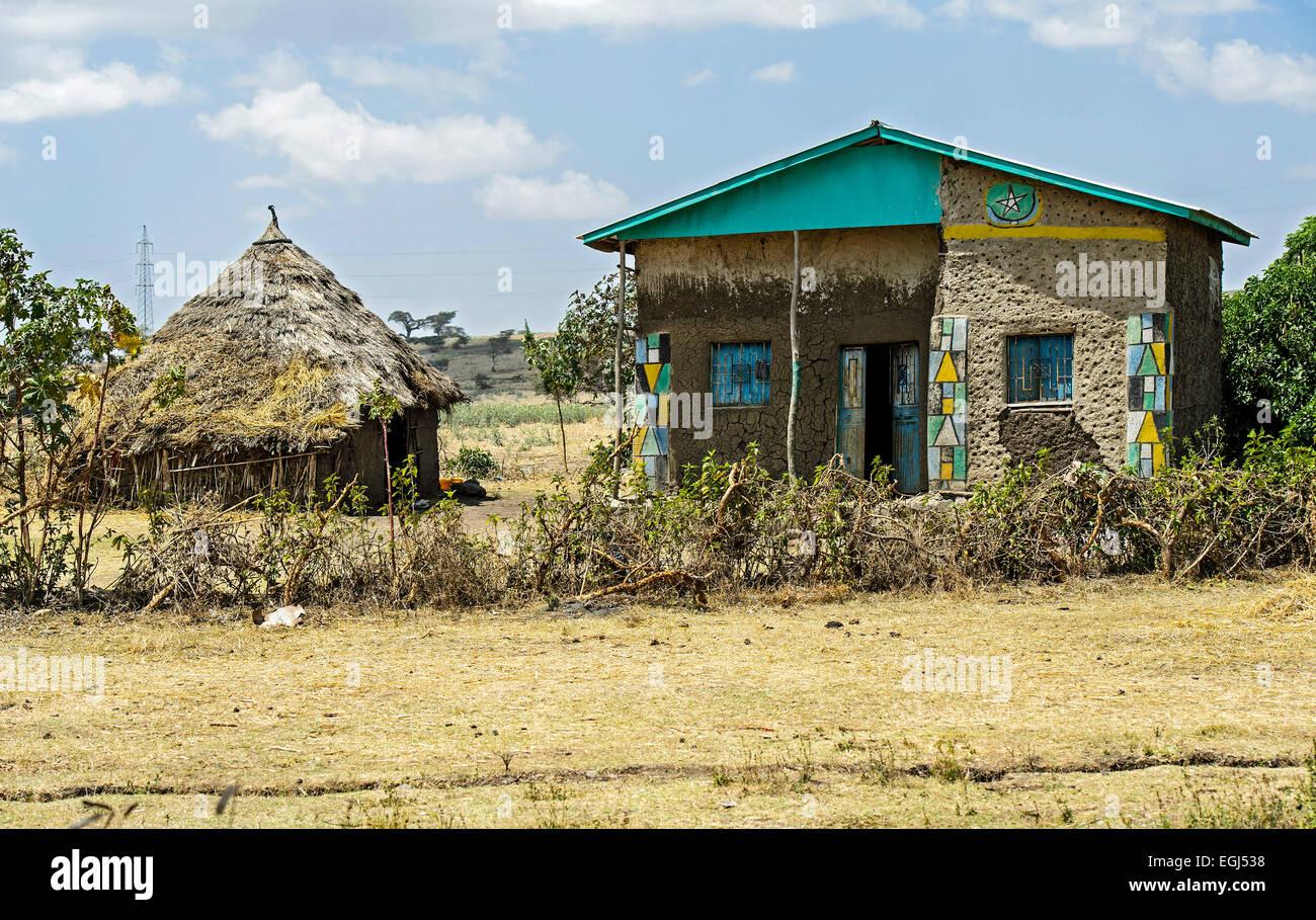 Muslim farmer house with wall decorations, Arsi region, Oromia Region, Ethiopia - Stock Image