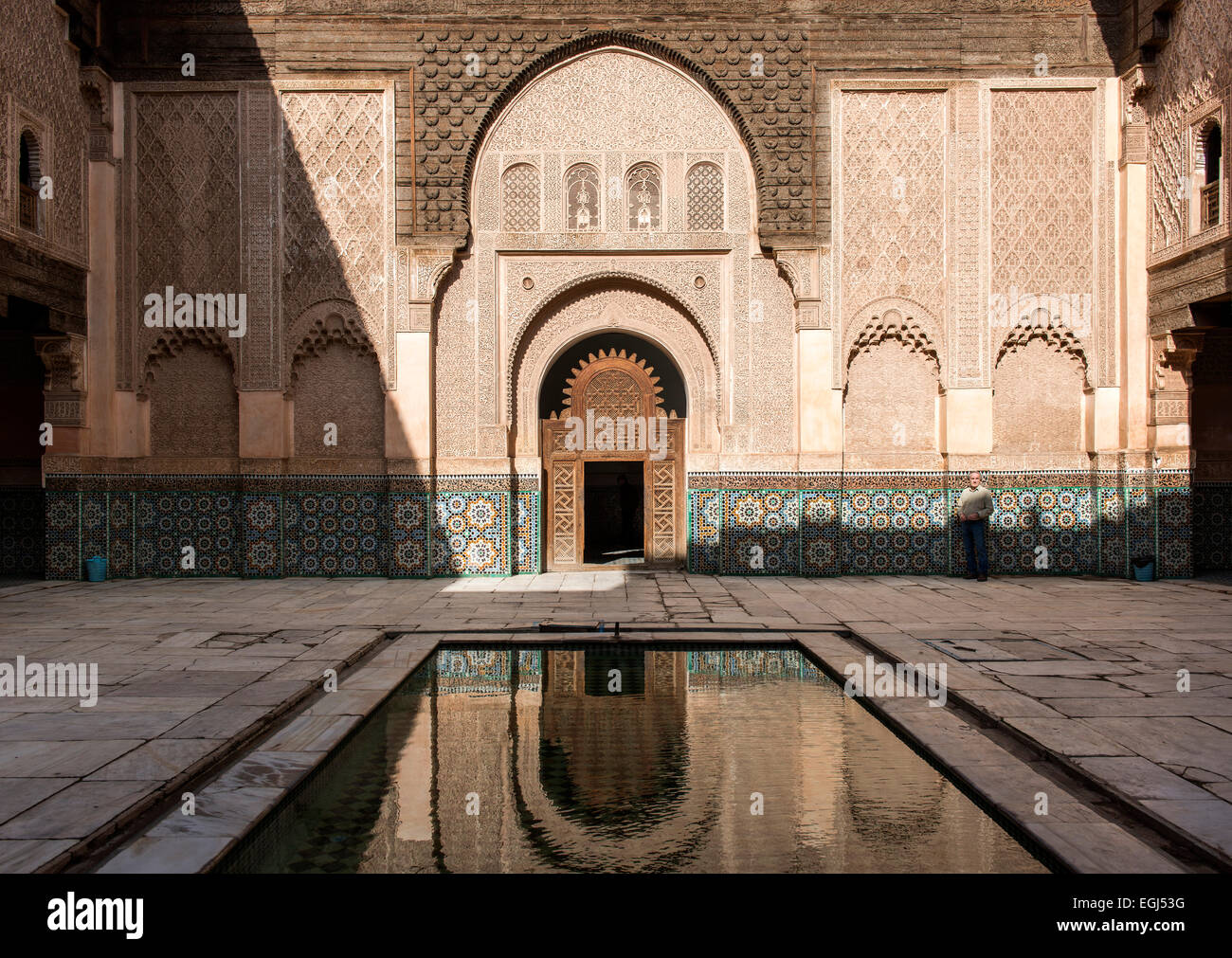Courtyard of the Medersa Ben Youssef, Medina, Marrakech, Morocco - Stock Image