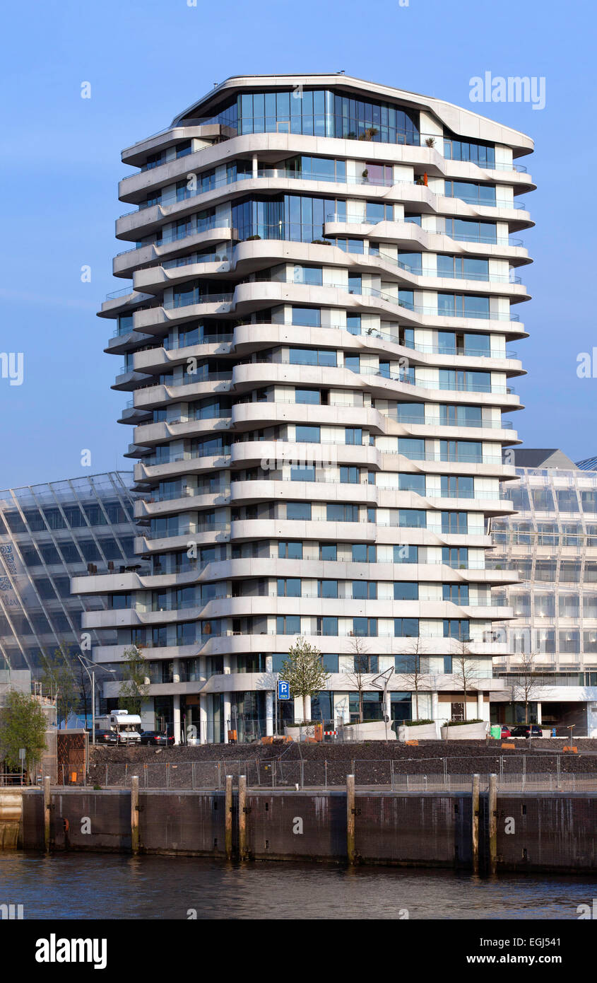 Residential Marco Polo Tower, Behnisch and Partner, Quartier Strandkai, HafenCity, Hamburg, Germany - Stock Image