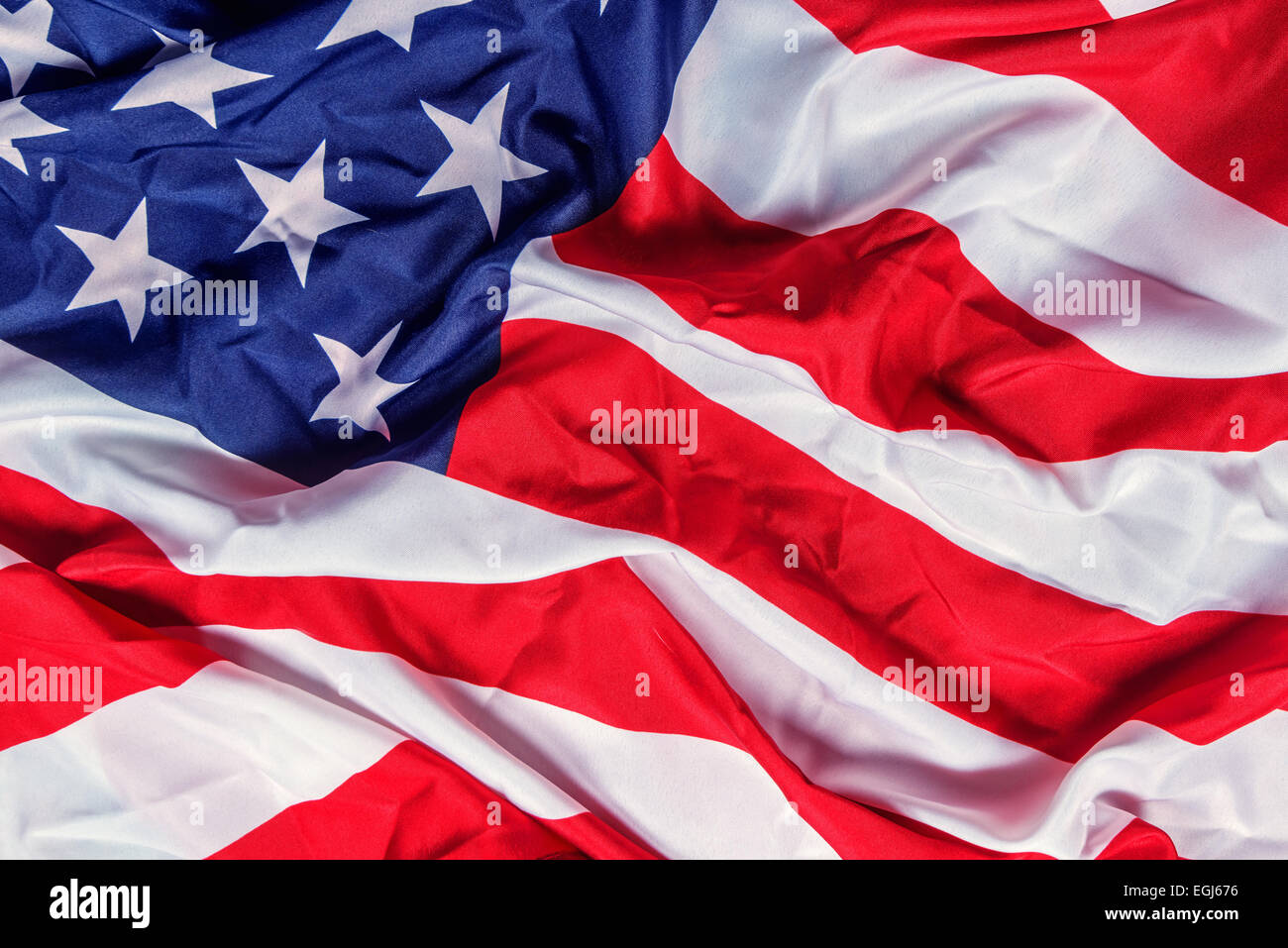 rumpled american flag close up - Stock Image