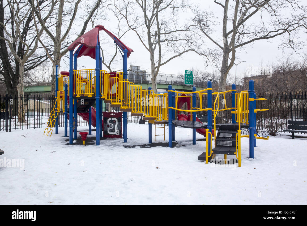 Empty Playground Covered With Snow In The Winter Time In Brooklyn