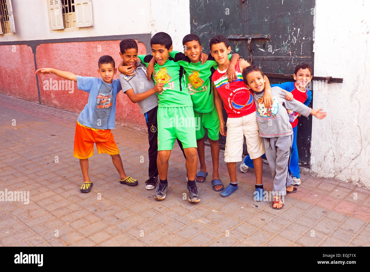 RABAT, MOROCCO - October 15 2013 : Kids in the streets on Eid al-Adha. - Stock Image