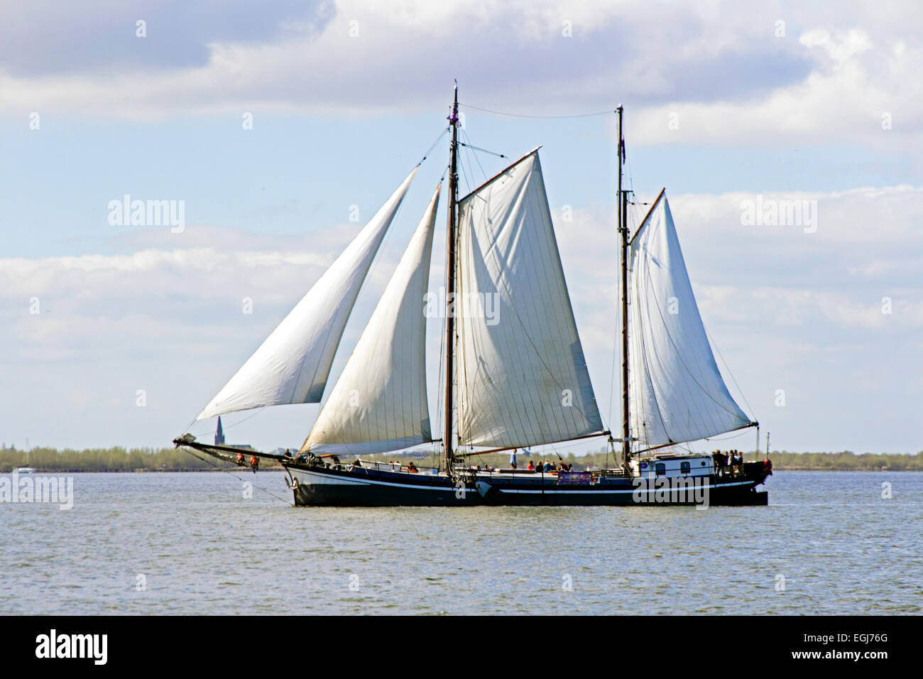 Traditional sailing ships on the IJsselmeer in the Netherlands - Stock Image