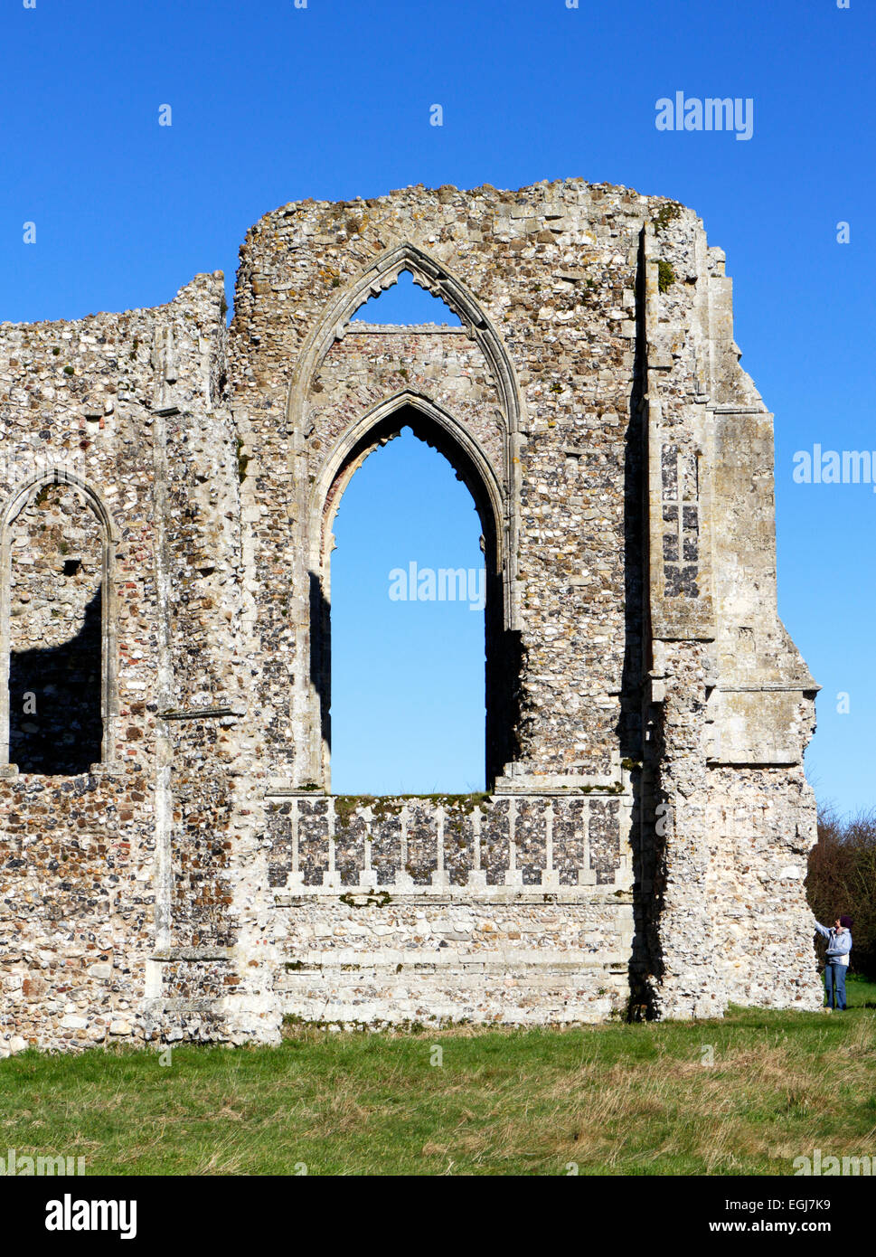 A detailed section of part of the ruins of Leiston Abbey, Suffolk, England, United Kingdom. - Stock Image