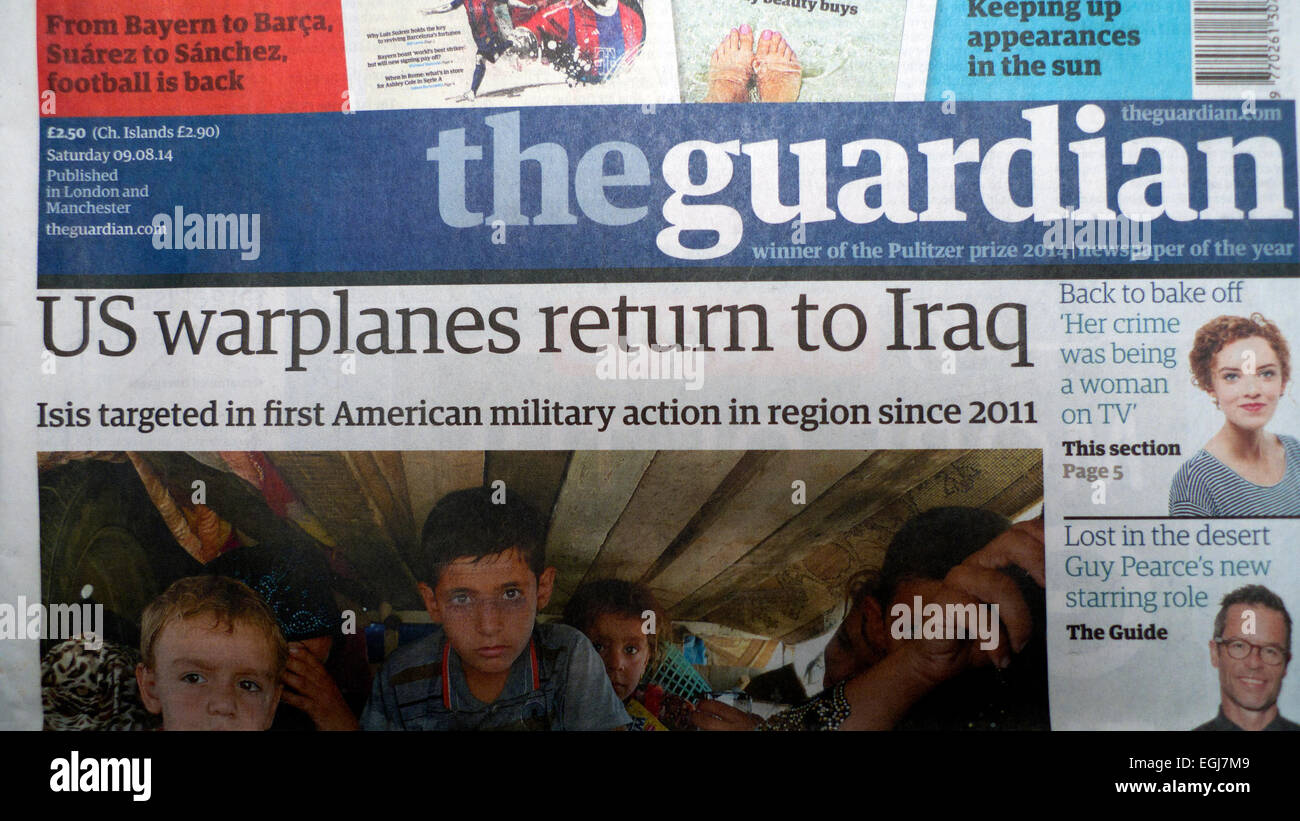 'US warplanes return to Iraq'  headlines on front page of Guardian newspaper on 9 August 2014 - Stock Image