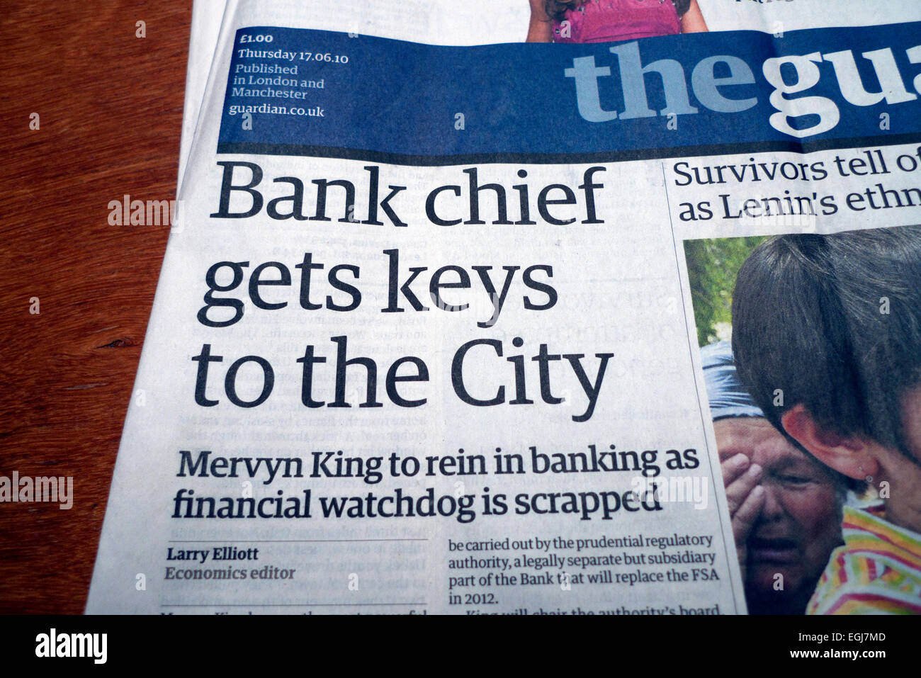 Mervyn King  'Bank chief gets keys to the City' front page headline in Guardian newspaper London UK  17 - Stock Image