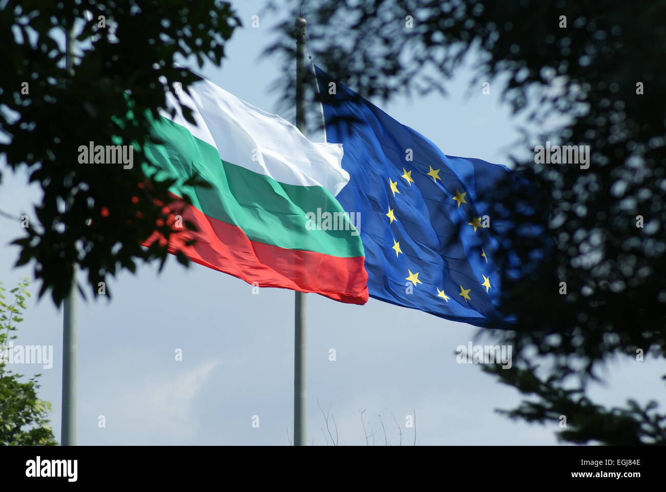Bulgarian and European Union Flags Flying in the Wind against a Blue Sky - Stock Image