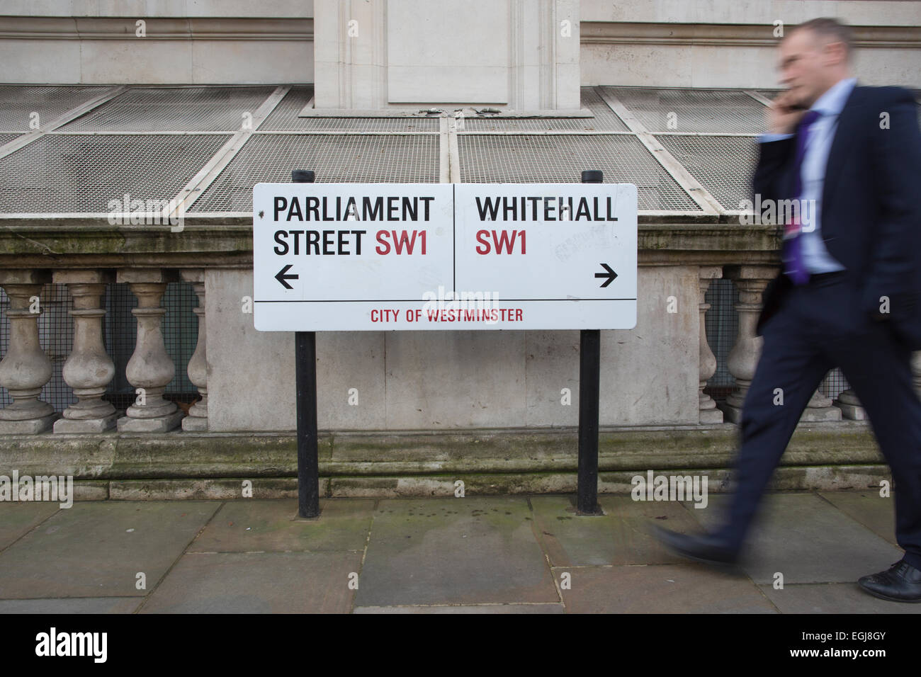 Whitehall and Parliament Street sign, Westminster, Central London, England, UK - Stock Image
