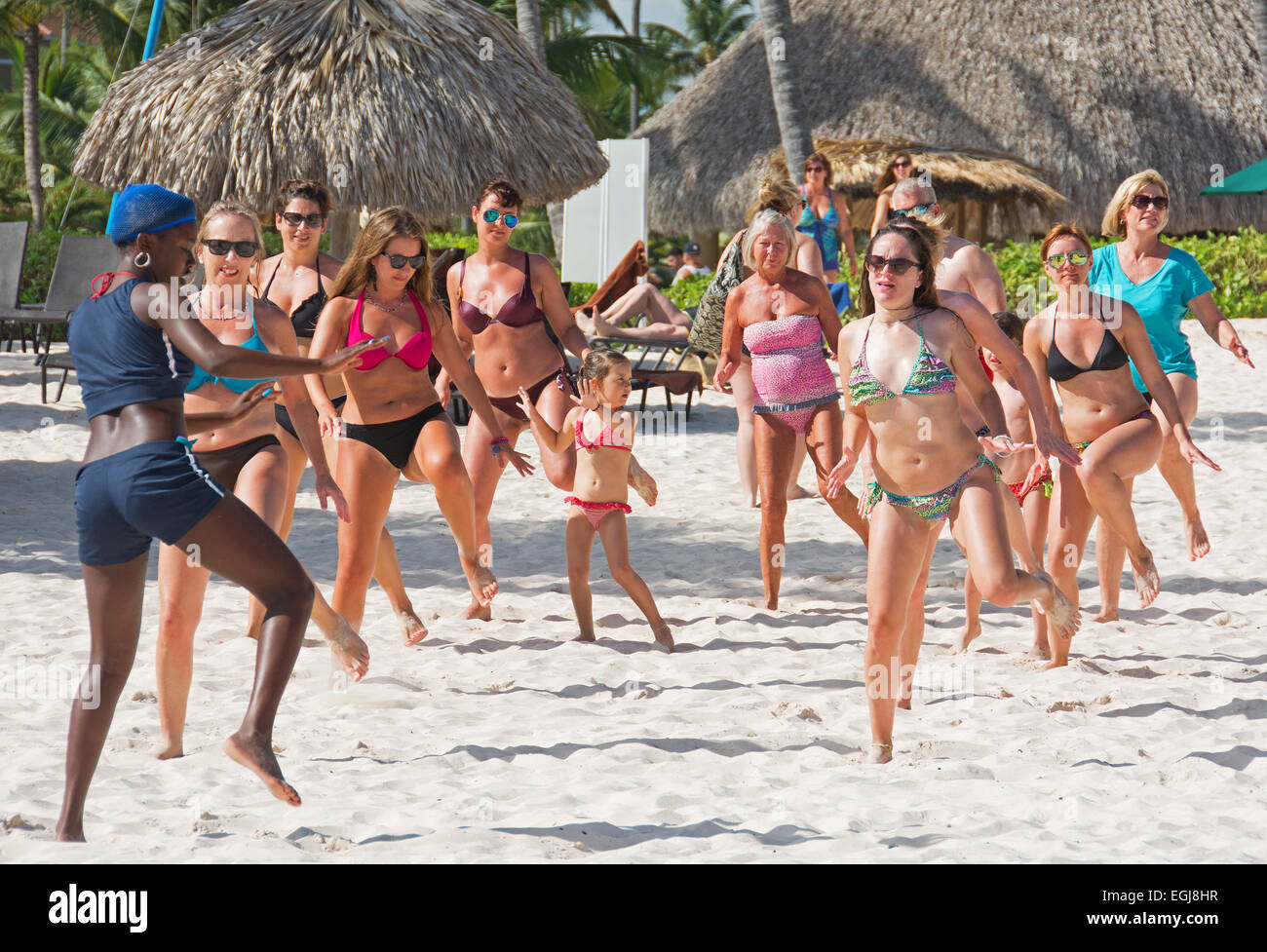 DOMINICAN REPUBLIC A Lively Caribbean Dance And Zumba Class On Punta Cana Beach 2015