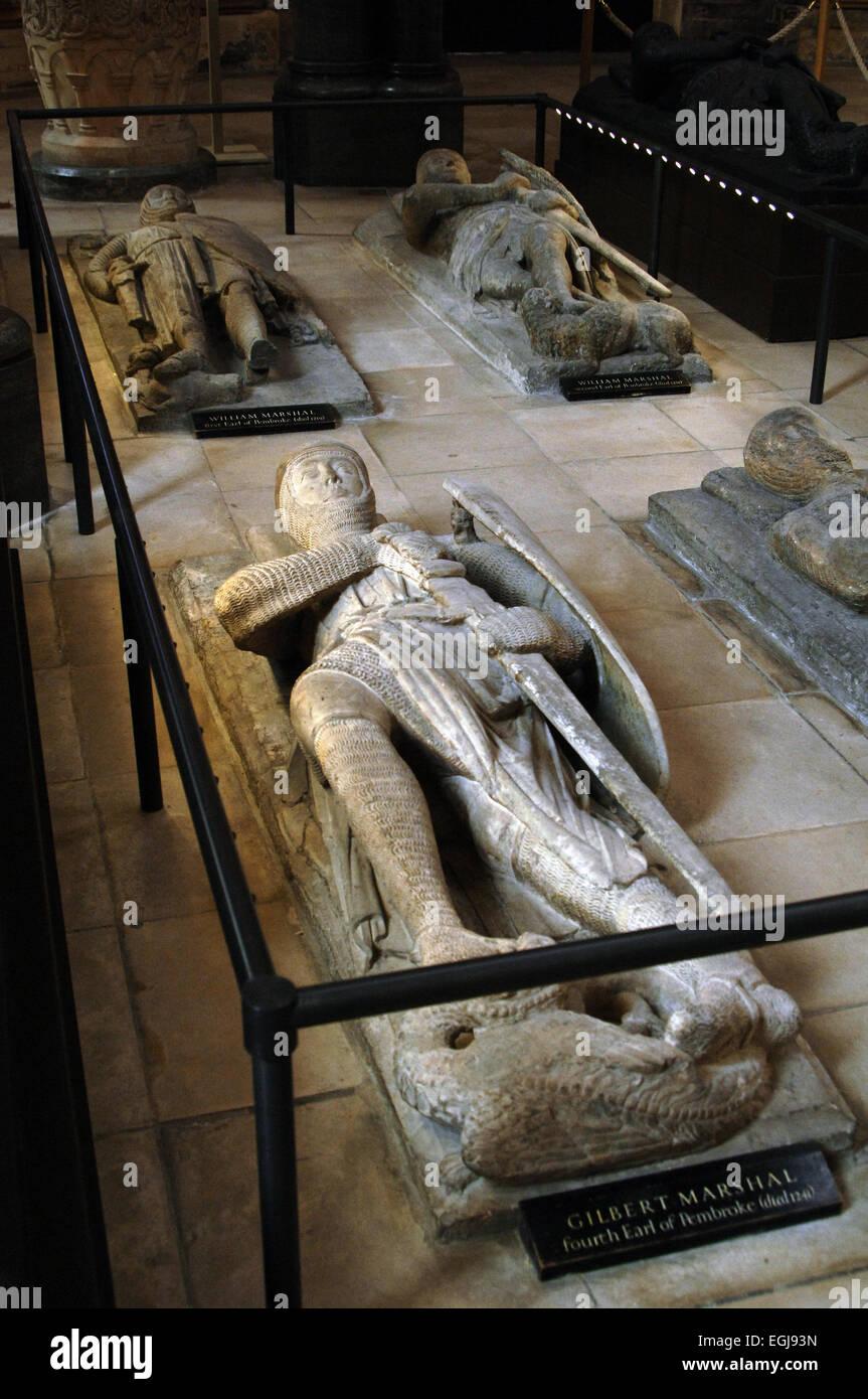 England. London. Temple Church. 12th C. Tomb effigies of the Knights Templar. First termn Effigy of Gilbert Marshall. - Stock Image