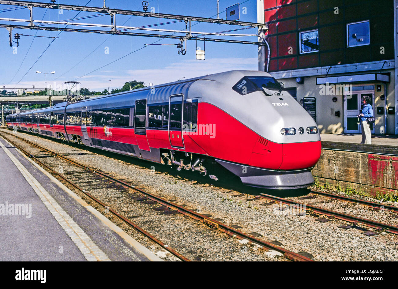 Norwegian State Railways Class 73 electric train No. 73144 on the Sørlandet Line in Kristiansand Railway Station Stock Photo