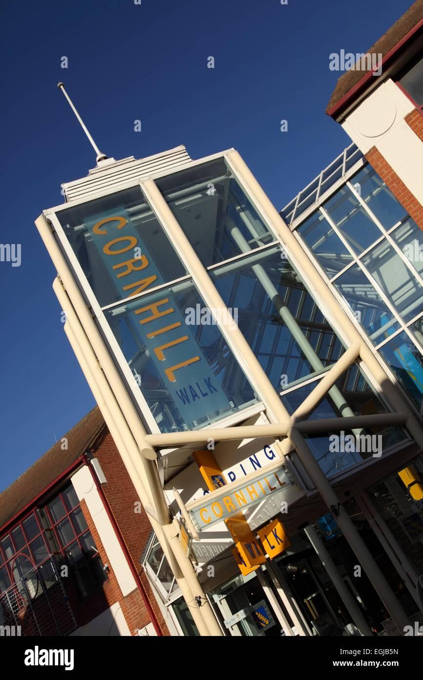 Cornhill Walk shopping centre, Bury St Edmunds, Suffolk, retail park - Stock Image