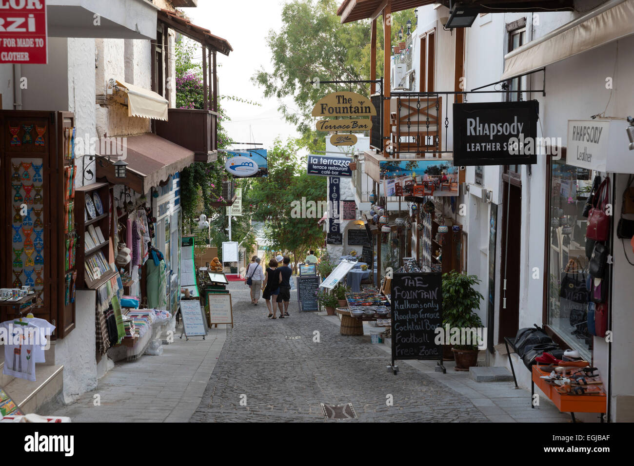 Shop Lined Street In The Old Town Kalkan Lycia Antalya