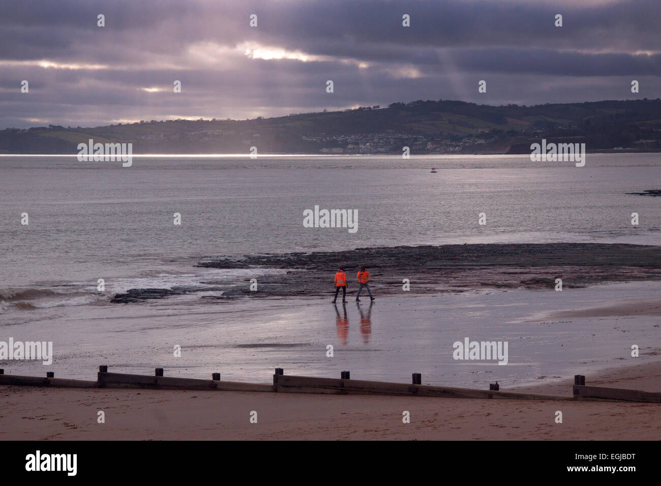 View across the river Exe at Exmouth, looking across towards Starcross and Dawlish - Stock Image