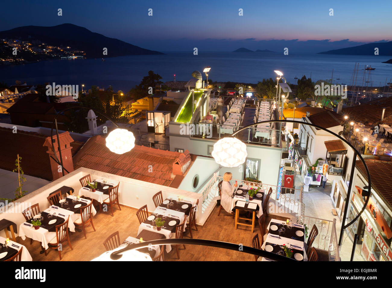 Rooftop Restaurant In Evening Kalkan Lycia Antalya Province Stock Photo Alamy
