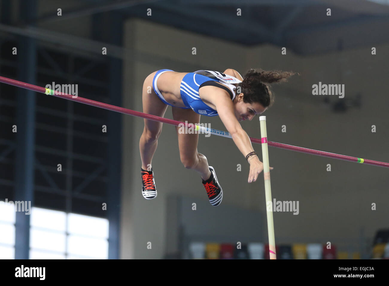 ISTANBUL, TURKEY - FEBRUARY 21, 2015: Greek athlete Stela Iro Ledaki pole vaulting during Balkan Athletics Indoor - Stock Image