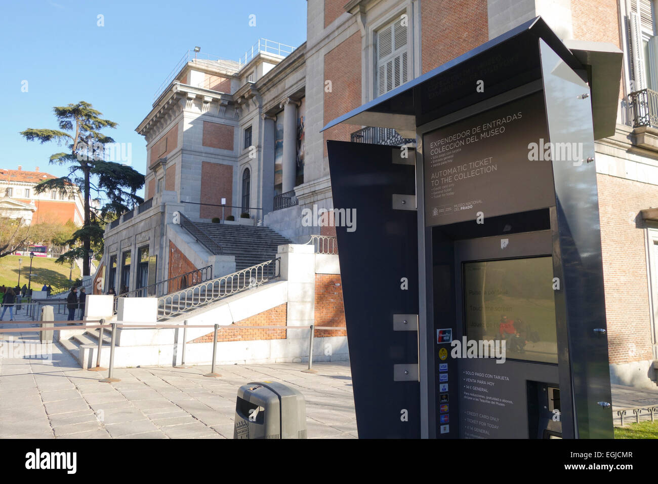 Automatic ticket dispenser, machine for entrance tickets to the Prado Museum, Madrid, Spain. - Stock Image