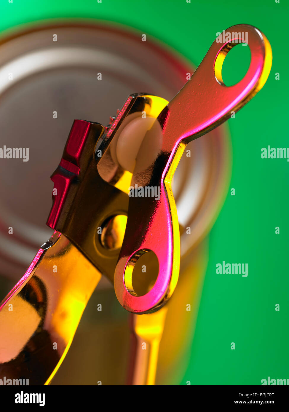 can opener and can - Stock Image