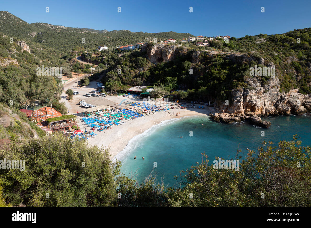 Buyuk Cakil beach, Kas, Lycia, Antalya Province, Mediterranean Coast, Southwest Turkey, Turkey, Asia - Stock Image