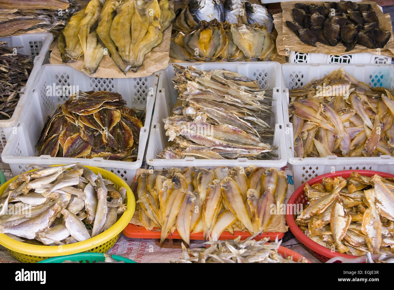 Fish for sale at the market in Cai Be, Mekong Delta, Vietnam, Southeast Asia - Stock Image