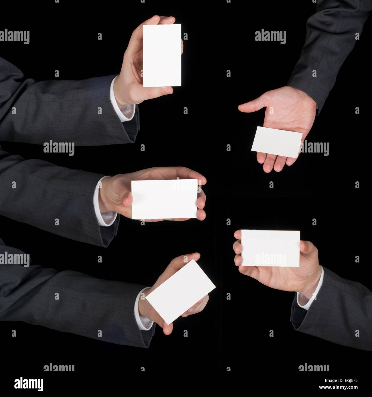 Hands hold business cards collage on black stock photo 79082505 alamy hands hold business cards collage on black colourmoves