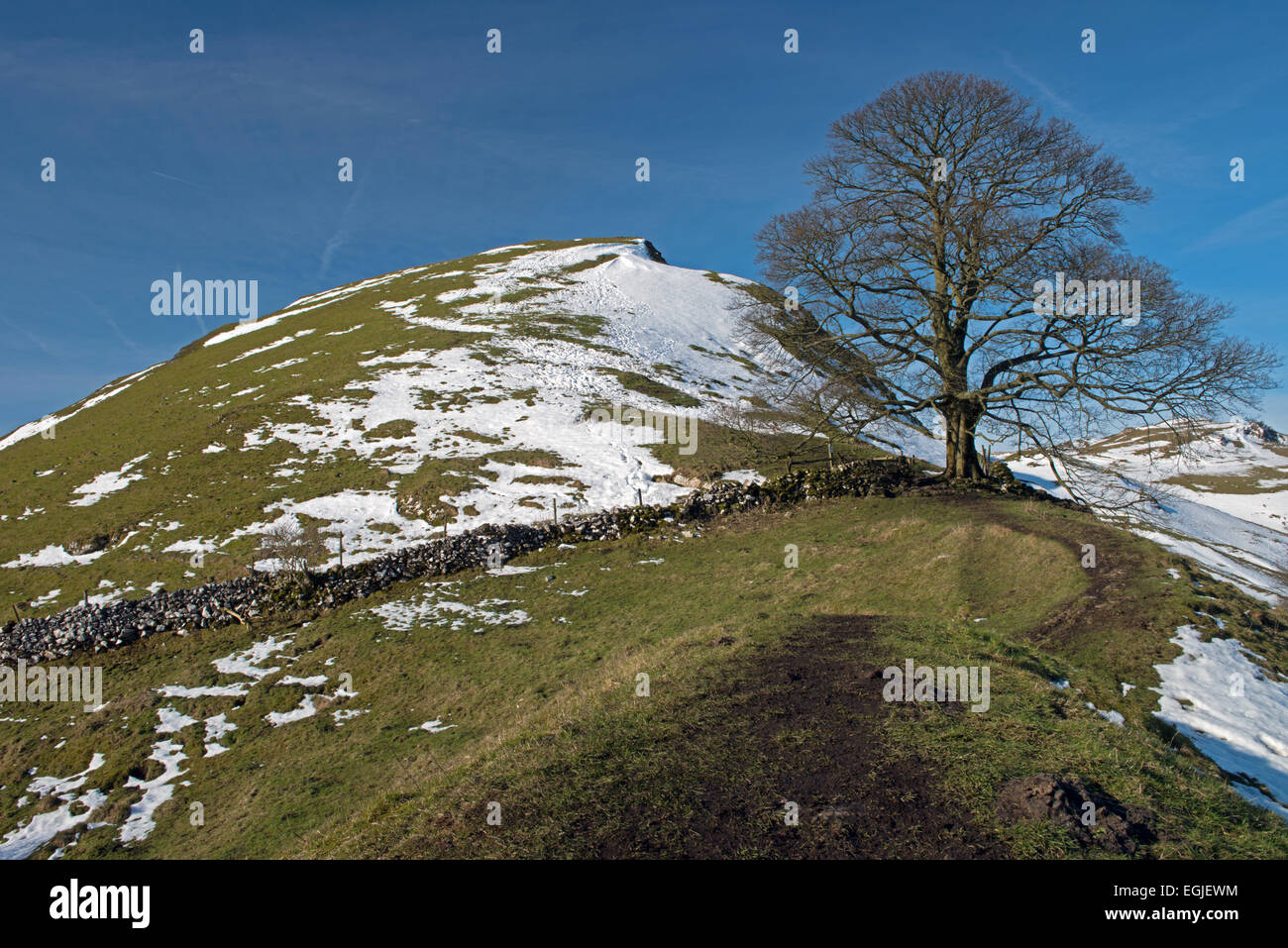 Chrome Hill during winter, Upper Dove Valley, Peak District National Park, Derbyshire, England,UK,GB - Stock Image