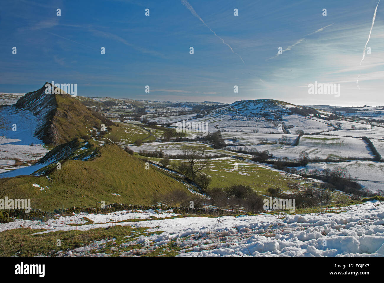 Chrome Hill and Parkhouse Hill during winter, Upper Dove Valley, Peak District National Park, Derbyshire, England,UK,GB - Stock Image