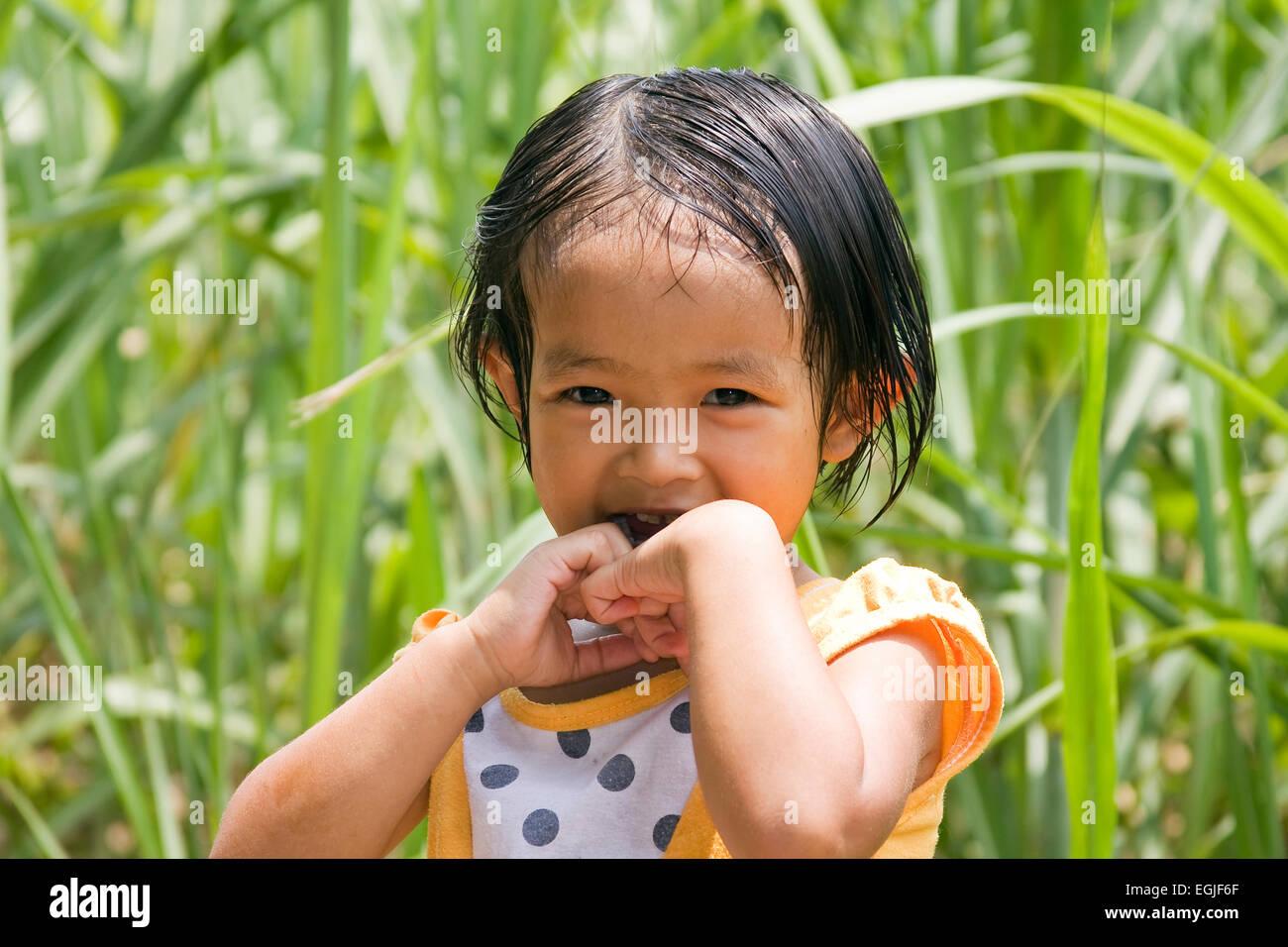 Small Vietnamese girl portrait Vietnam, Asia Stock Photo
