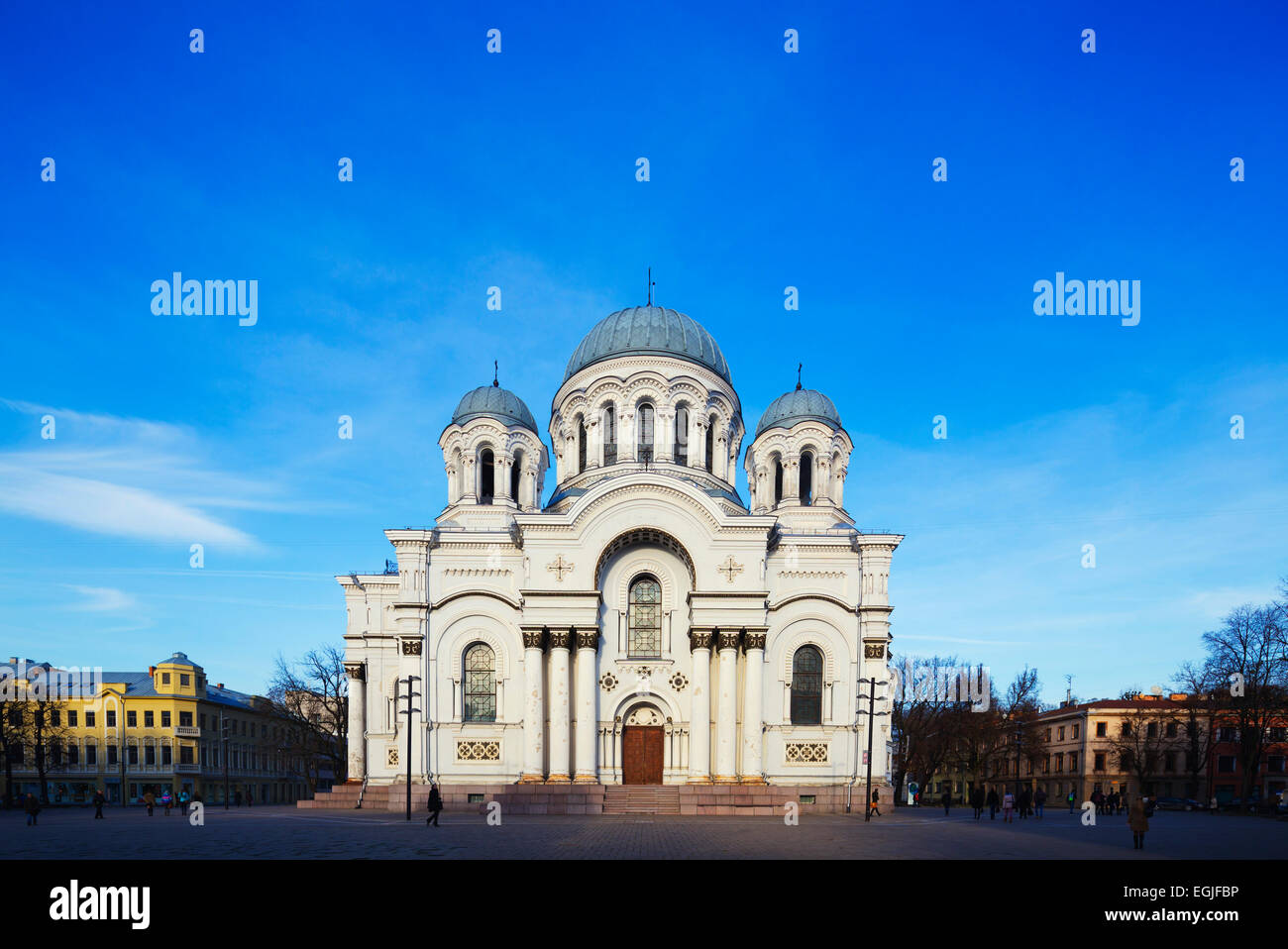 Europe, Baltic states, Lithuania, Kaunas, St. Michael the Archangel's Roman Catholic church, Neo-Byzantine style - Stock Image
