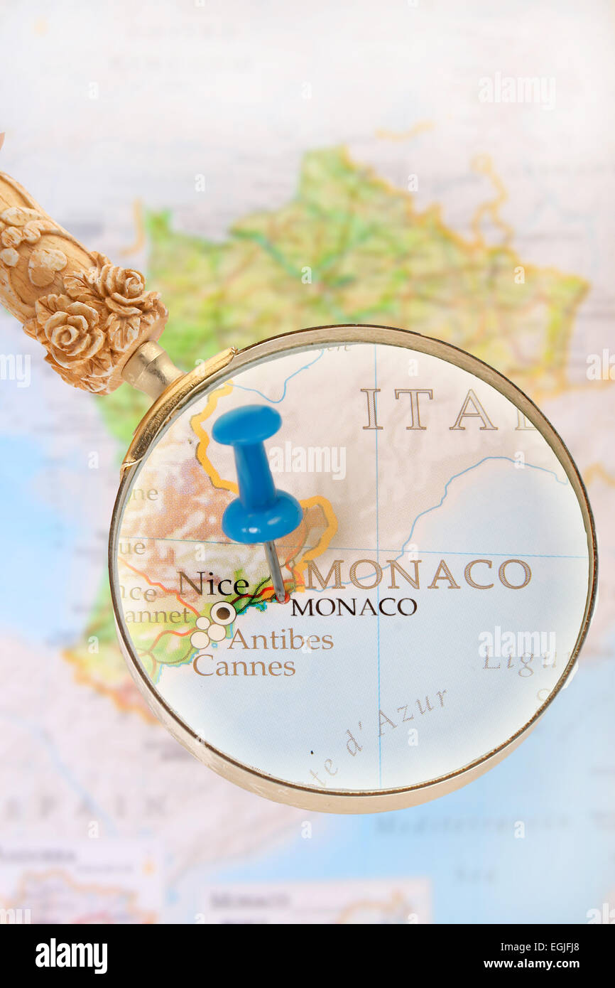 Monaco On Map Of France.Blue Tack On Map Of France And Monaco With Magnifying Glass Looking