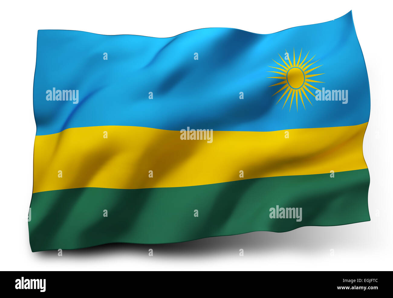 Waving flag of Rwanda isolated on white background - Stock Image