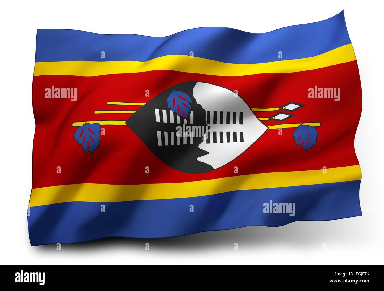Waving flag of Swaziland isolated on white background Stock Photo