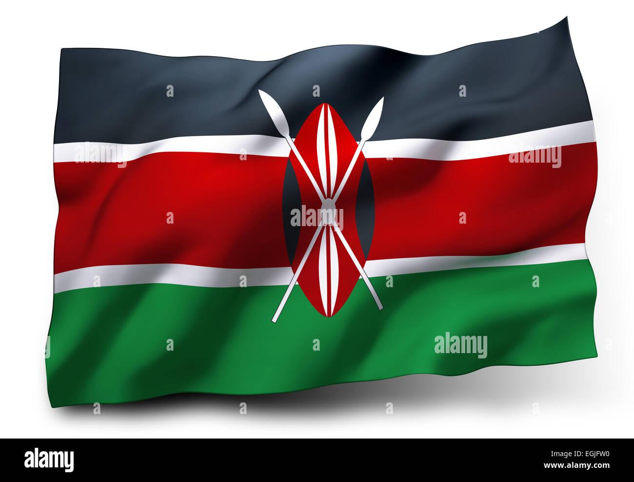 Waving flag of Kenya isolated on white background Stock Photo