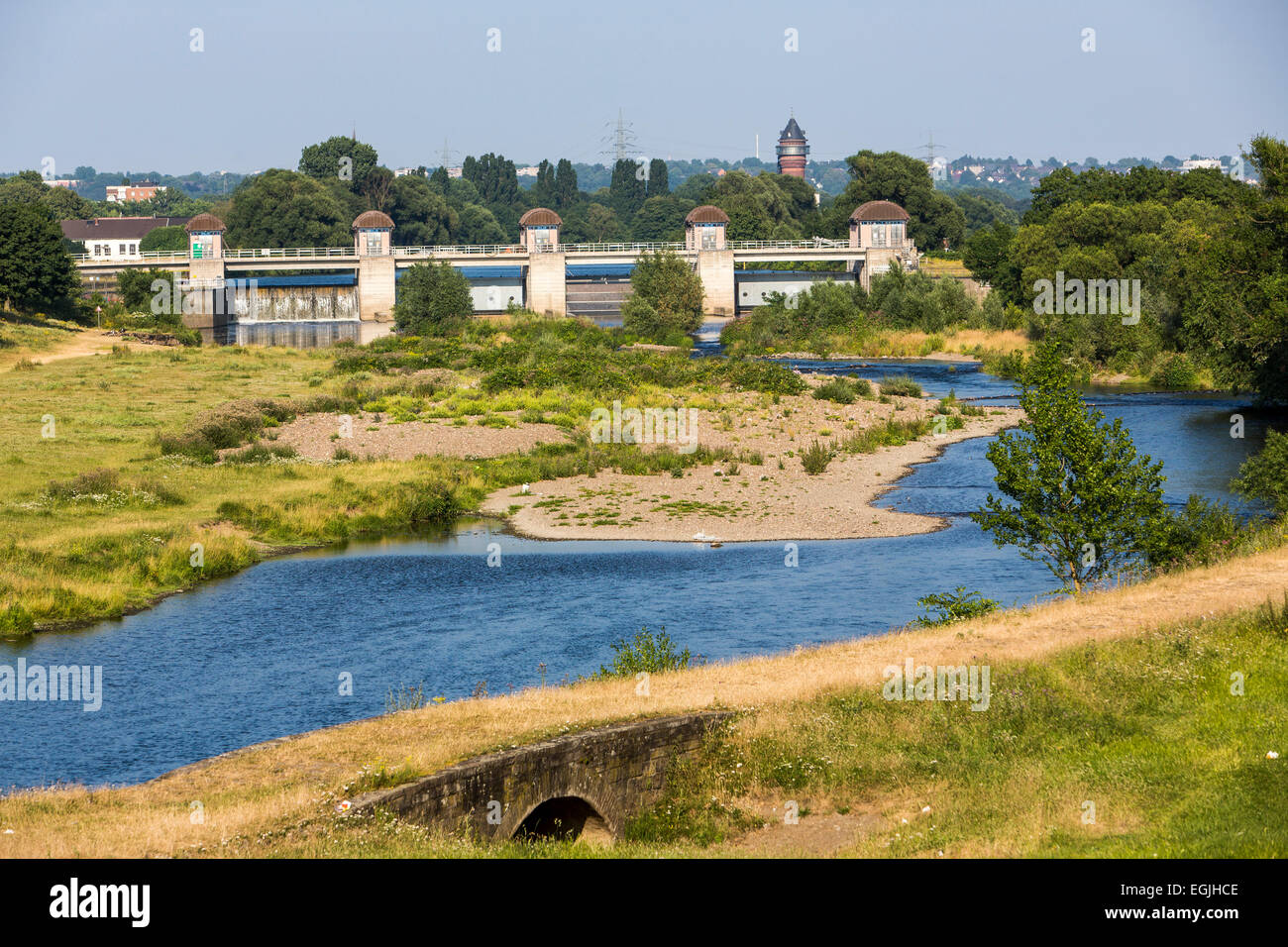 River Ruhr, dam, Raffelberg in Mülheim, Germany Stock Photo