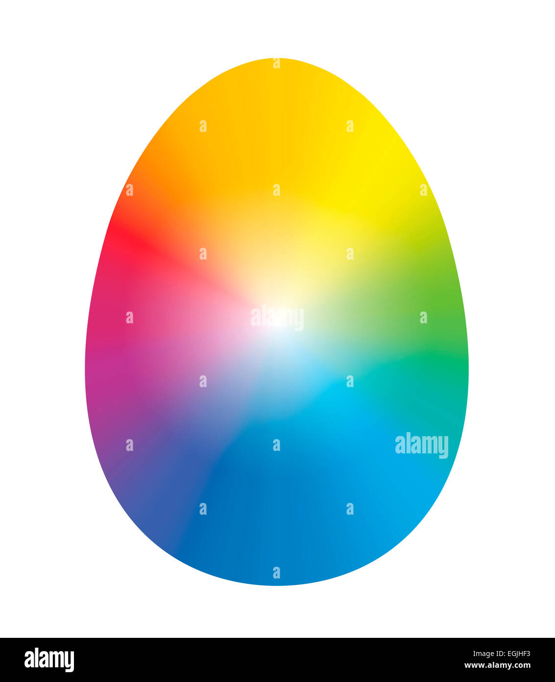 Easter egg inked with rainbow colors. - Stock Image
