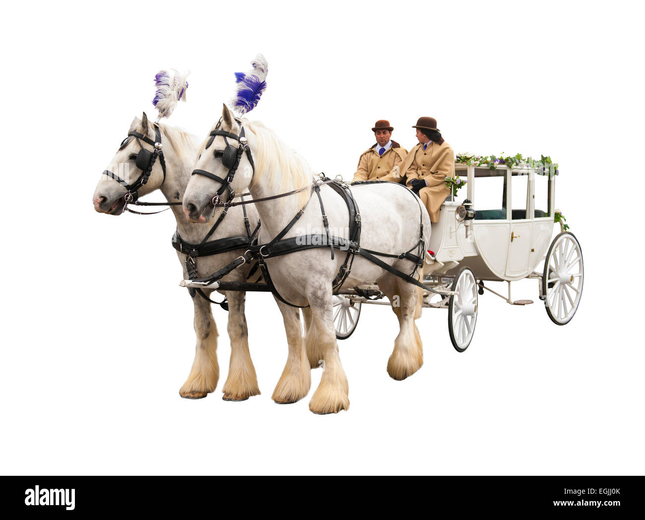 Wedding bridal carriage horses and coachmen Stock Photo