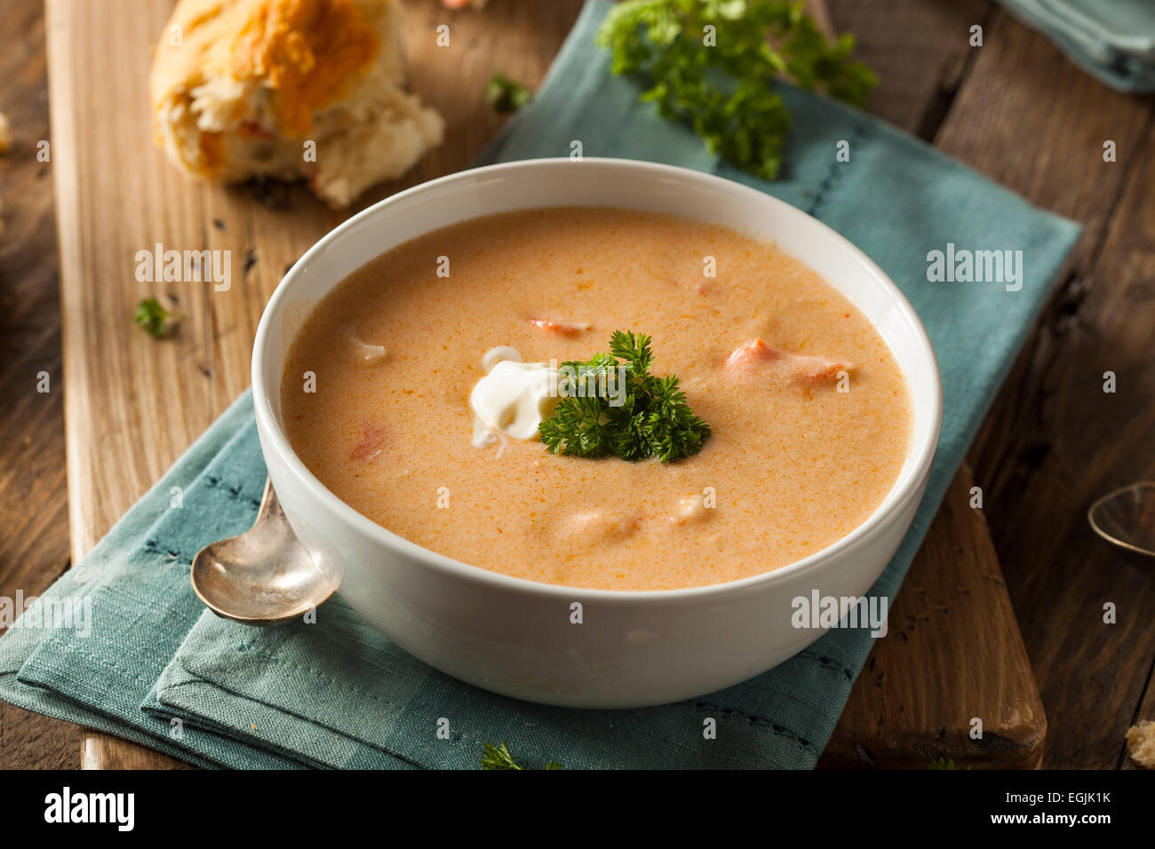Homemade Lobster Bisque Soup with Cream ...
