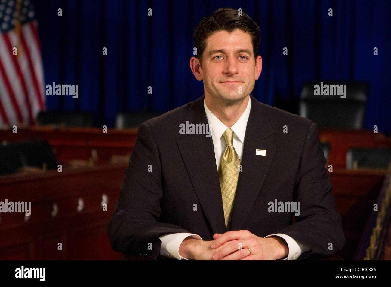 US Rep. Paul Ryan during the Republican response to President Barack Obama following the State of the Union address - Stock Image